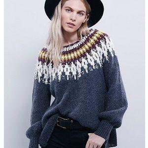 Free People Baltic Fairisle Sweater in Burgundy